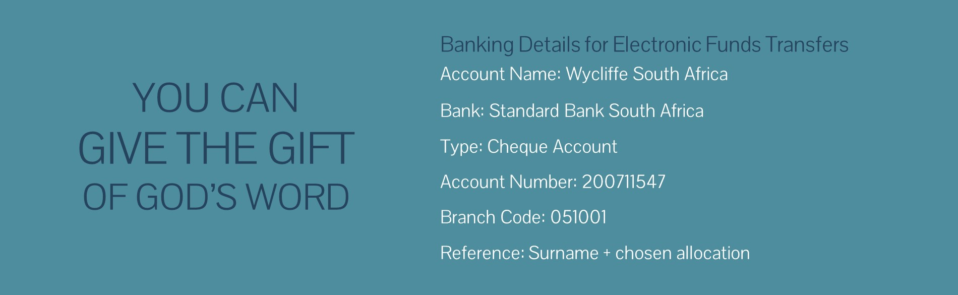 Wycliffe Banking Details